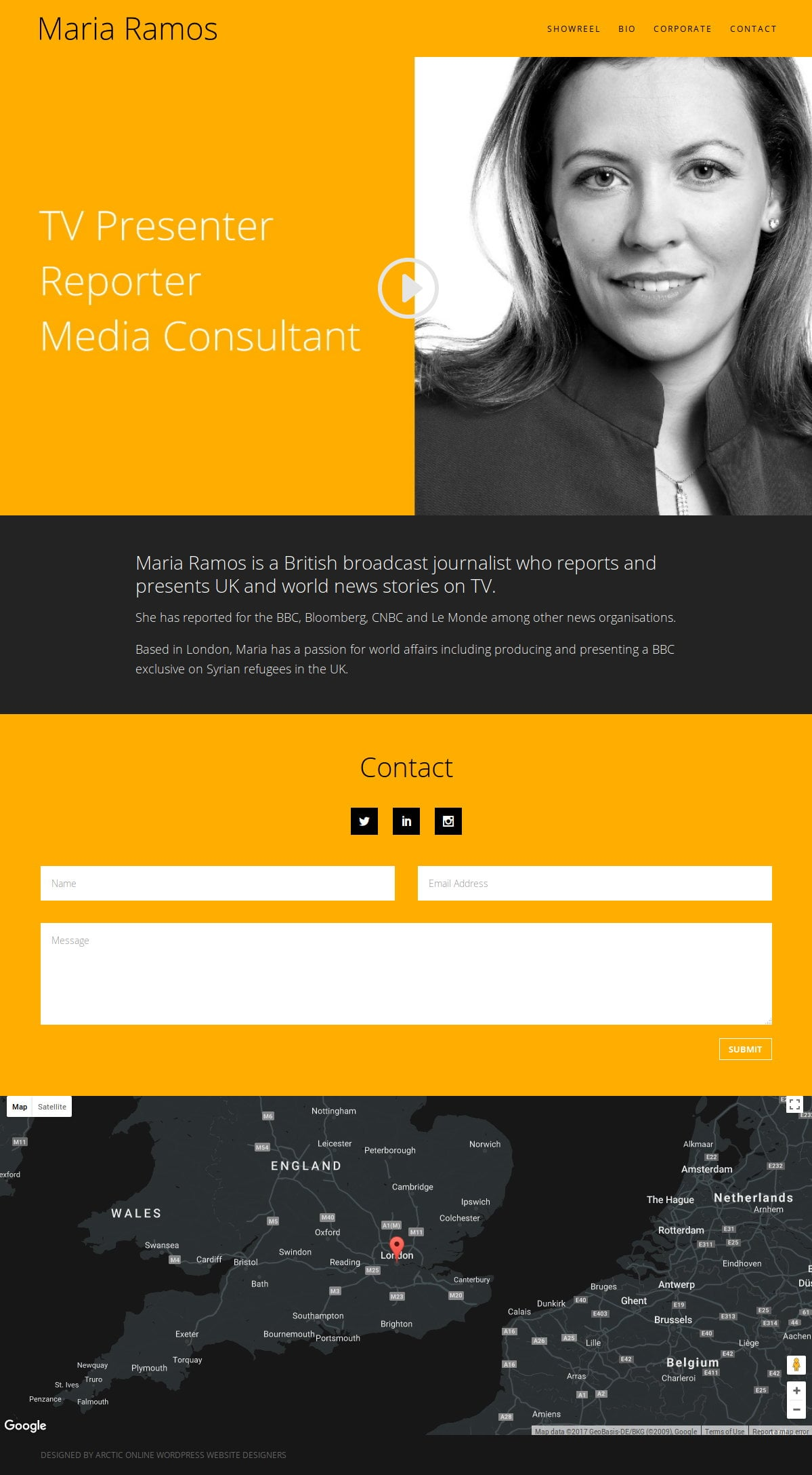 WordPress Website Home Page for Maria Ramos,  Broadcast Journalist (BBC, Bloomberg and CNBC)