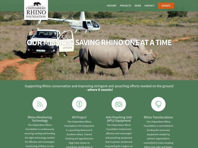 Chipembere Rhino Foundation - Custom WordPress Theme - Website Design