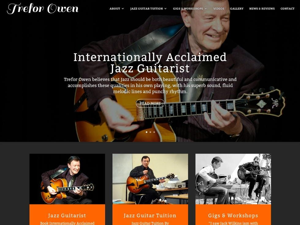 Responsive, mobile ready WordPress website for Trefor Owen - Internationally Acclaimed Jazz Guitarist.