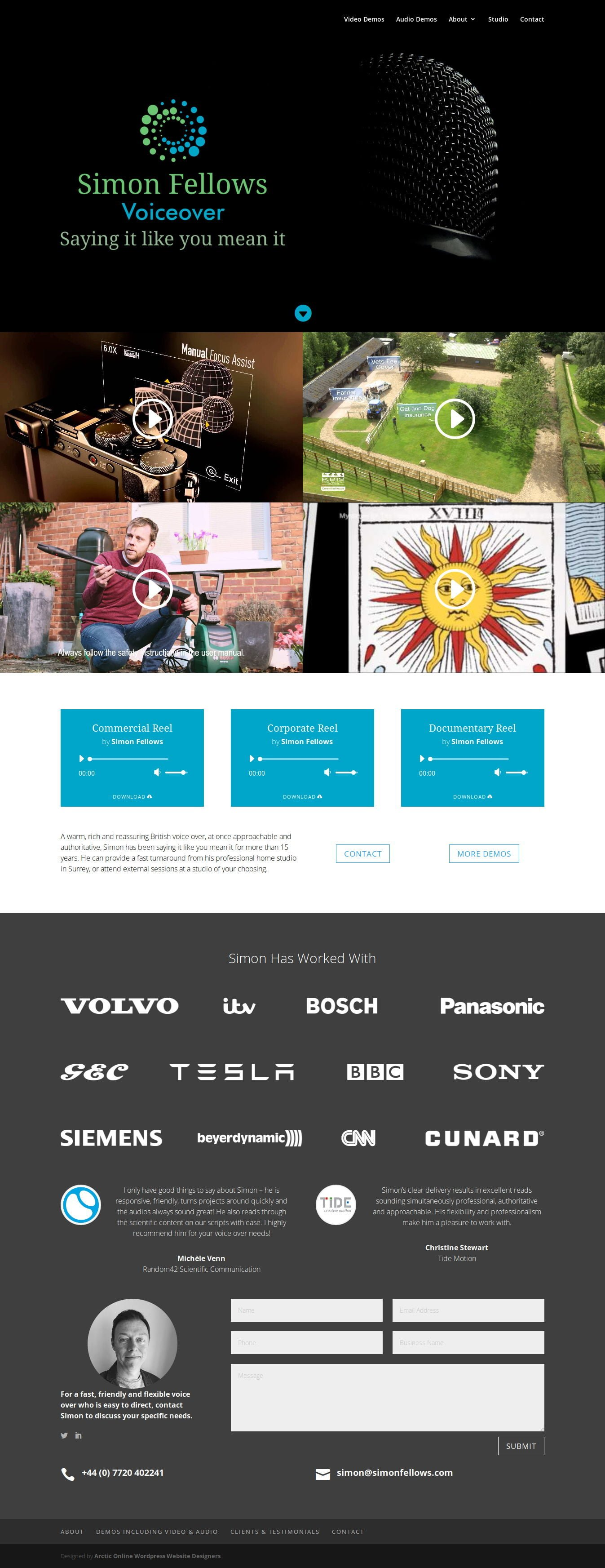 Home Page Screenshot of WordPress Website Design For Simon Fellows - International Voiceover