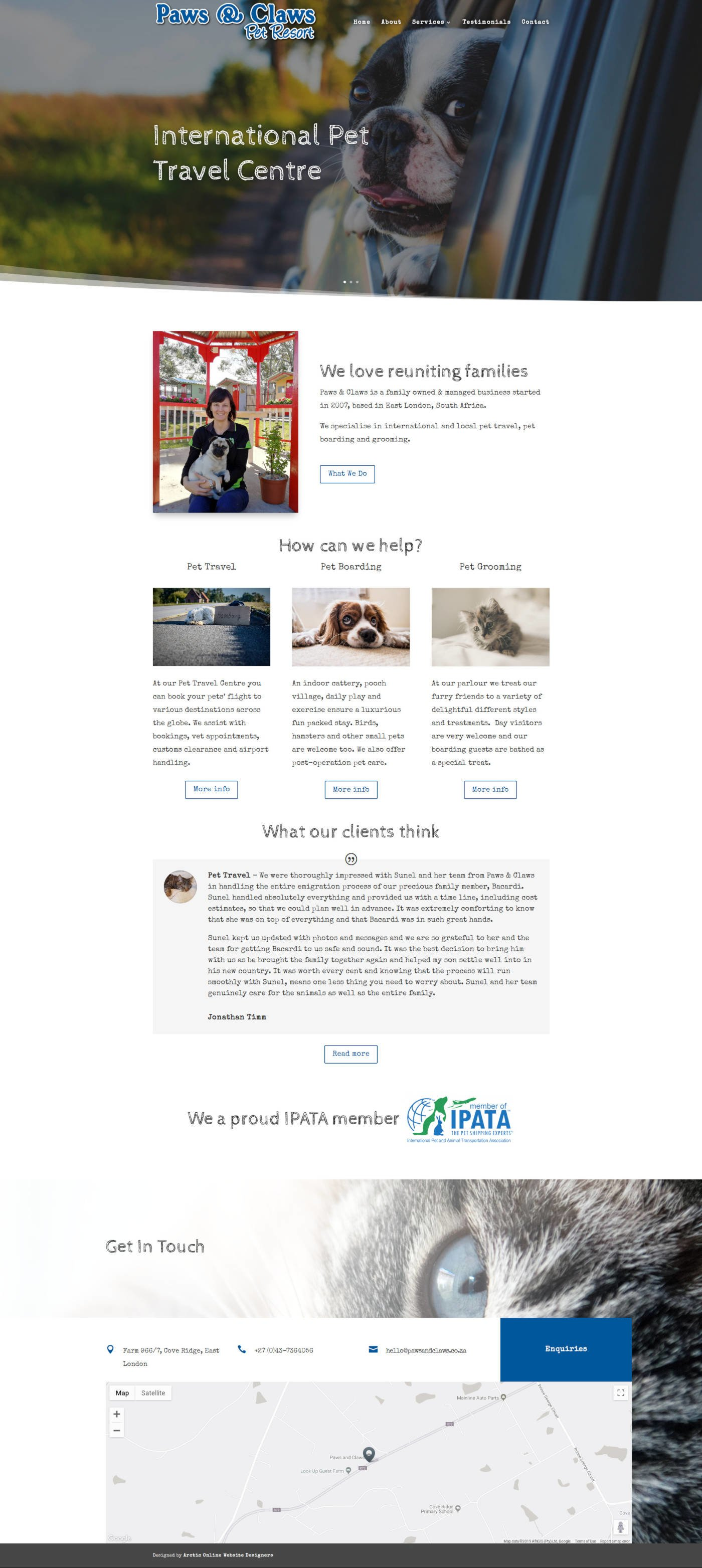 Home Page Screenshot of WordPress Website Design For Paws & Claws Pet Travel Centre