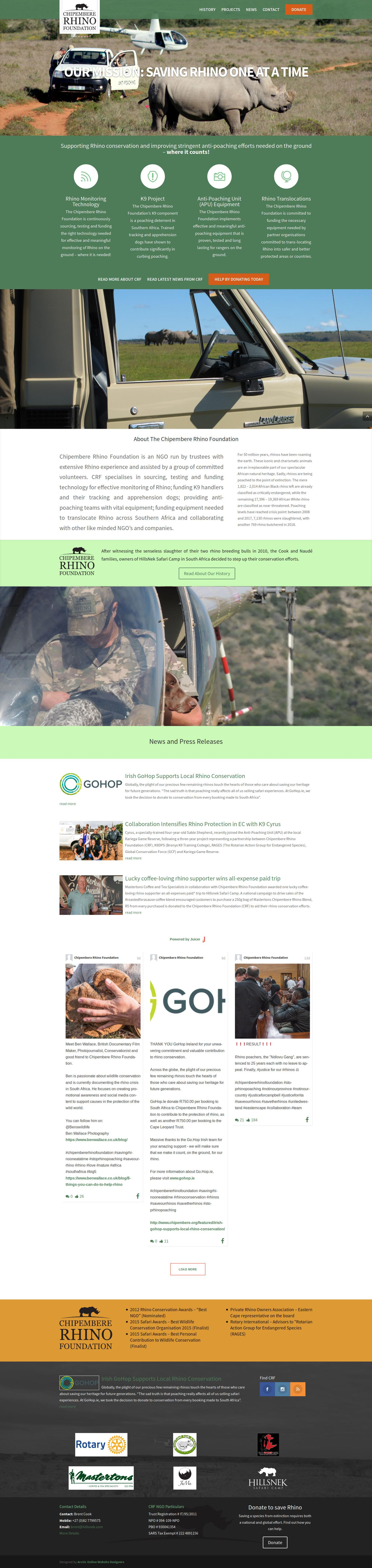 Home Page Screenshot of WordPress Website Design For Chipembere Rhino Foundation in South Africa