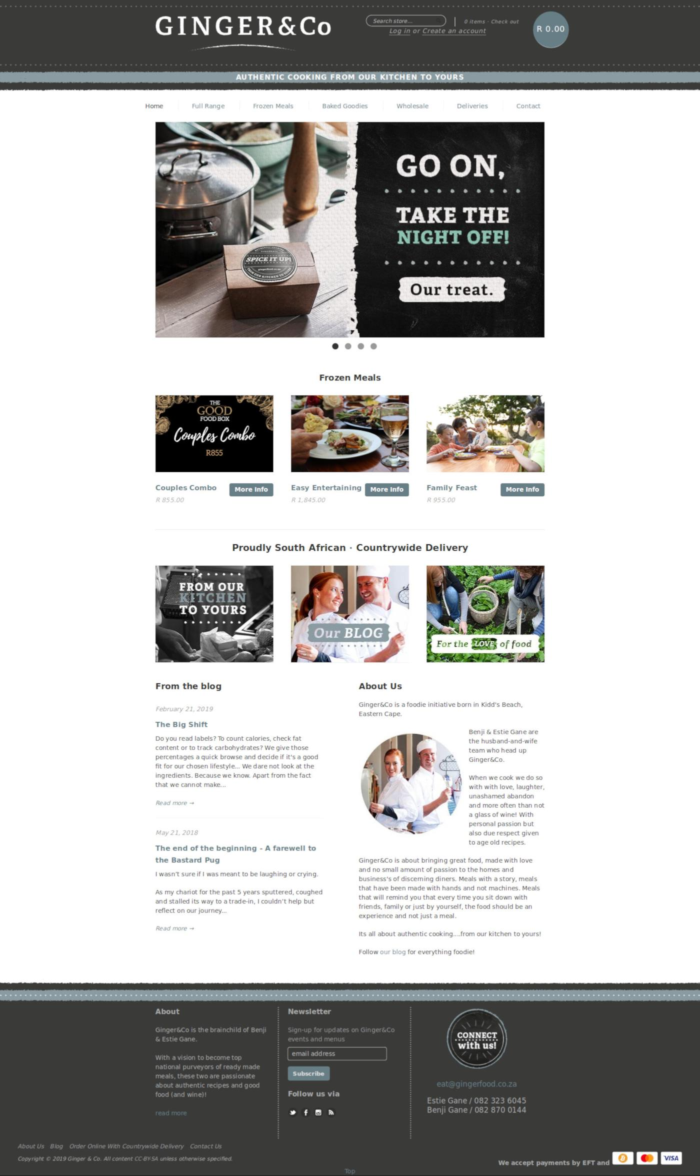 Home Page Screenshot of Shopify E-Commerce Store For Ginger & Co