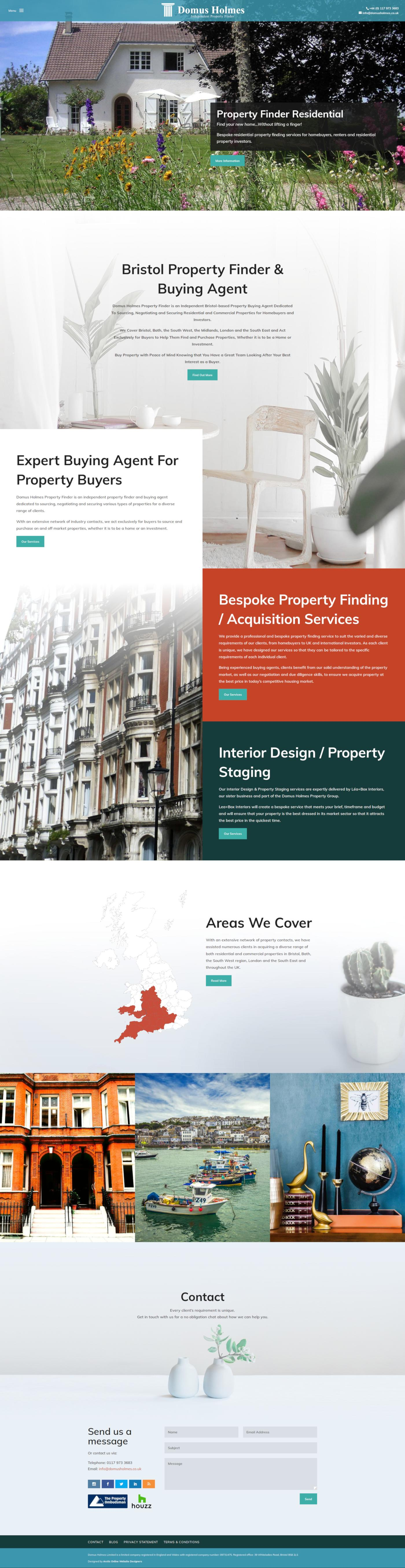 Home Page Screenshot of WordPress Website Design For Domus Holmes Property Finder