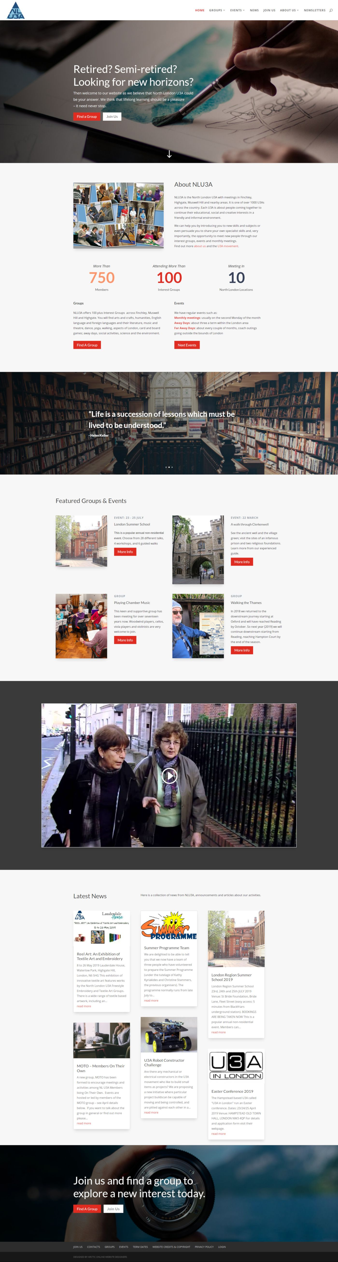 Home Page Screenshot of WordPress Website Design For North London U3A